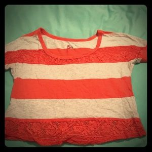 Red Grey Striped Short Sleeve Crop Top With Lace